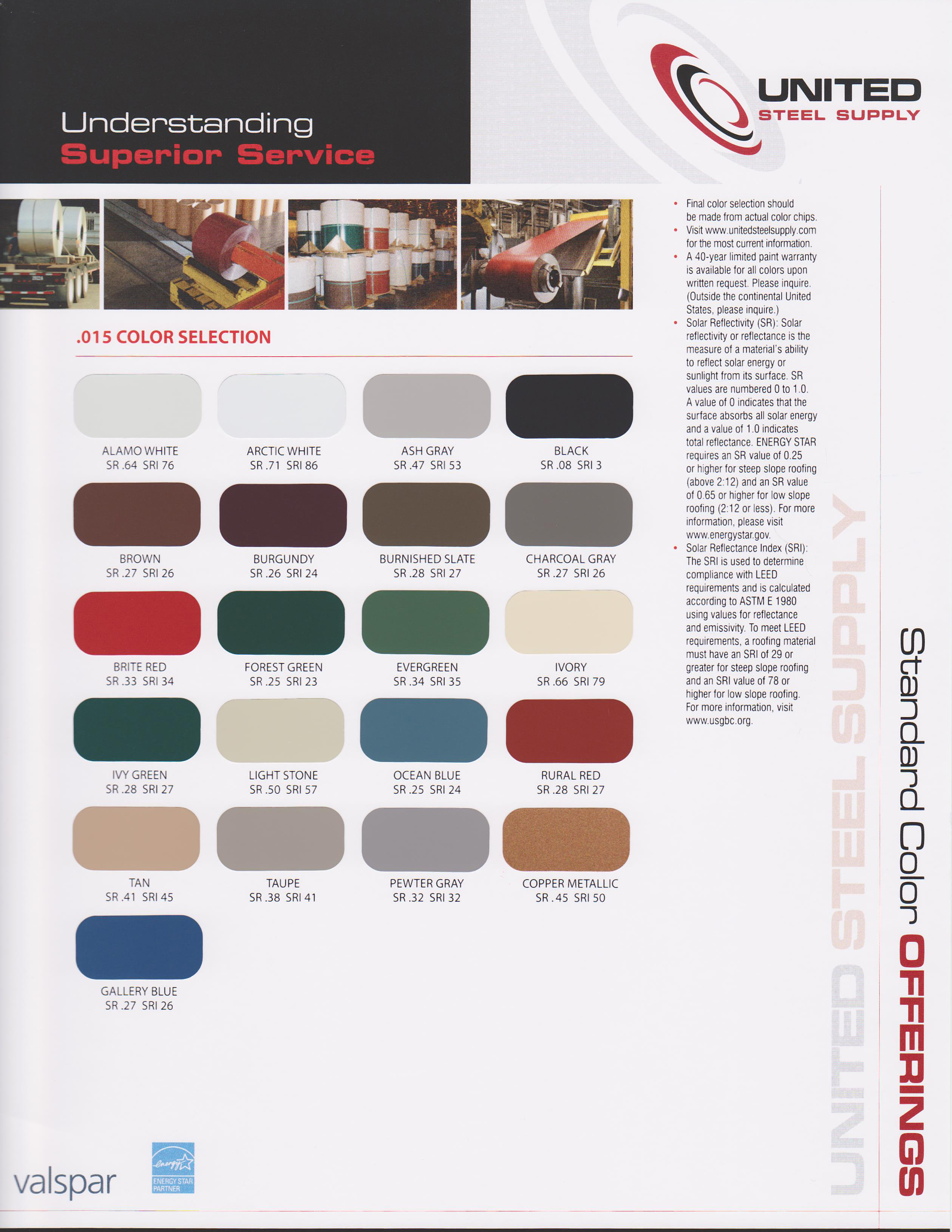 Color selections united steel supply valspar weather xl 015 gauge color chart nvjuhfo Choice Image