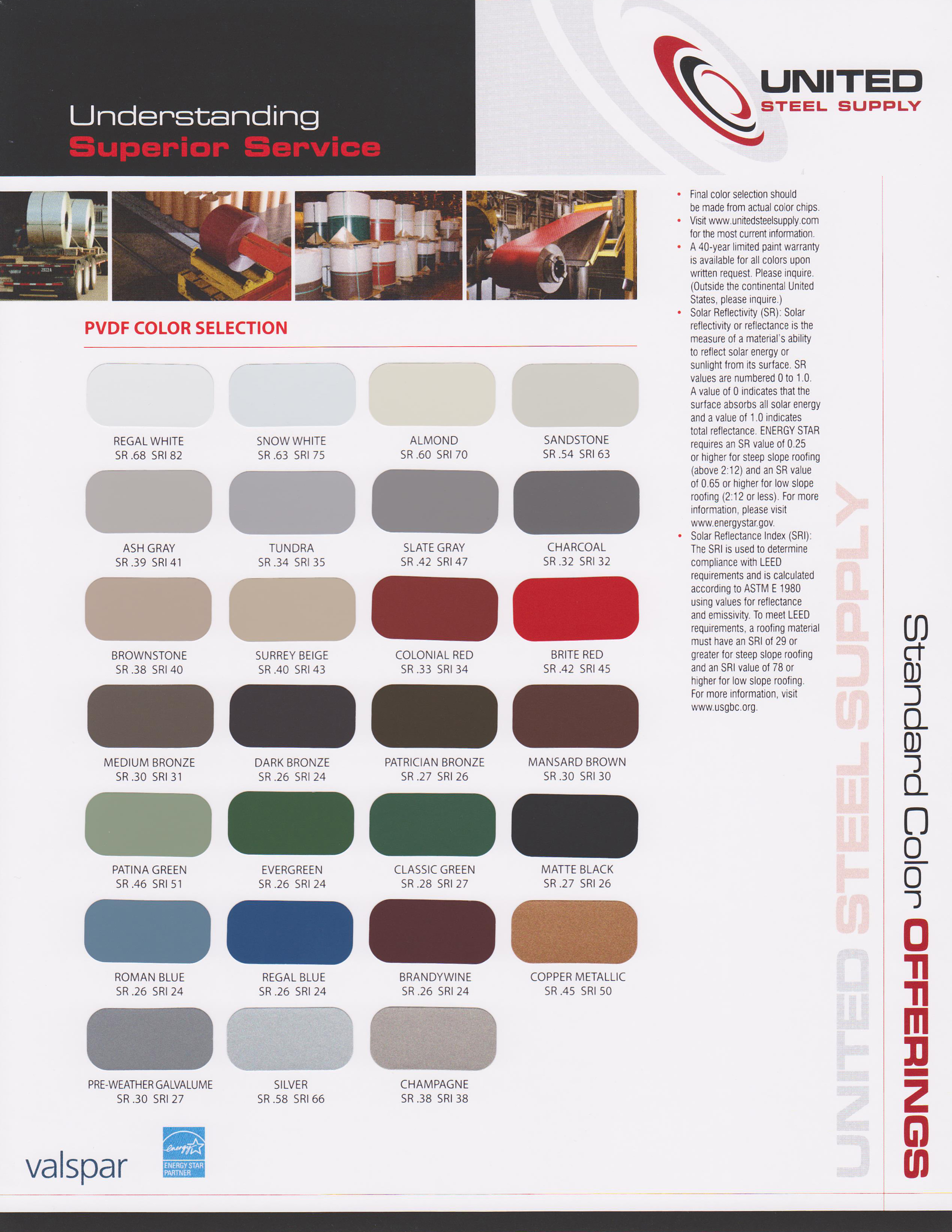 Color selections united steel supply valspar pvdf color chart nvjuhfo Choice Image